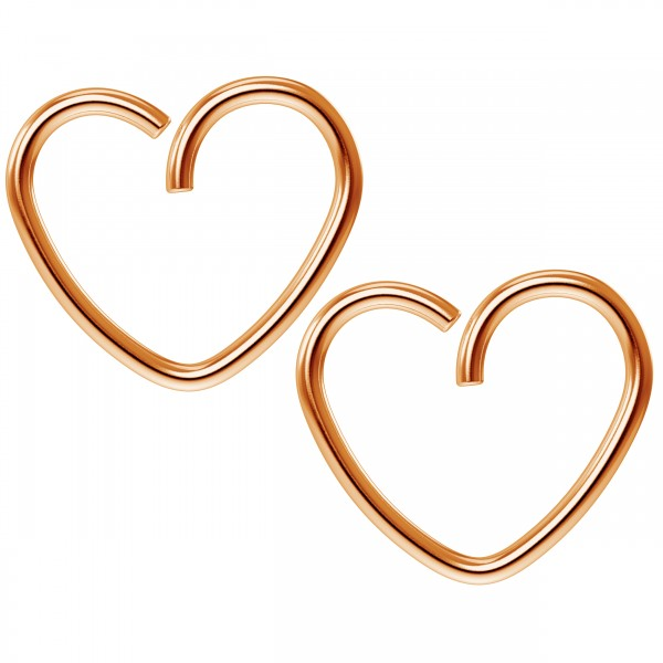 2pc 18g 3/8 Seamless Rose Gold Heart Hoop Earrings Cartilage Tragus Helix Conch Auricle Adjustable