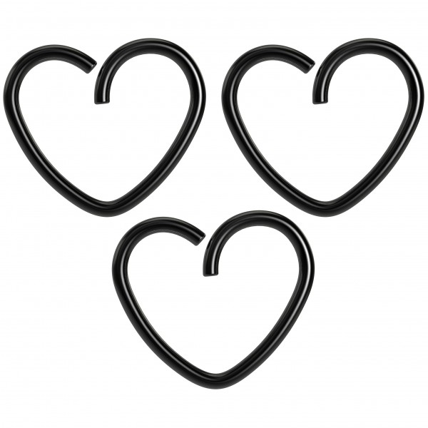 3pc 18g 3/8 Seamless Black Anodzied Steel Heart Hoop Earring Cartilage Tragus Helix Conch Auricle