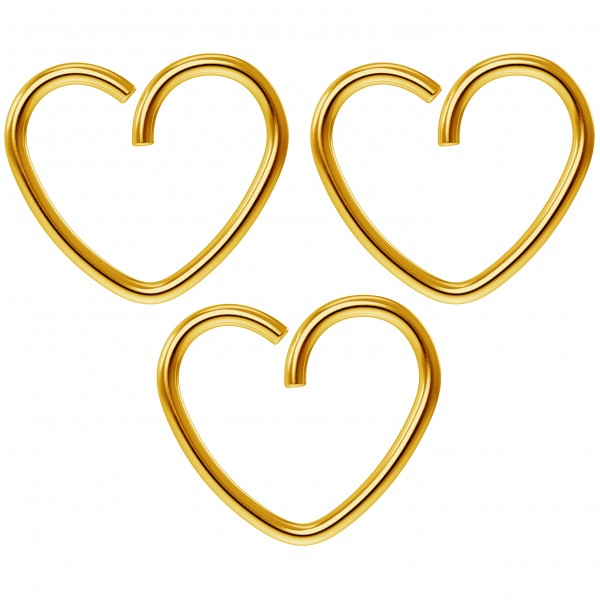 3pc 18g 3/8 Seamless Gold Anodized Heart Hoop Earring Ring Cartilage Rook Tragus Helix Conch Auricle
