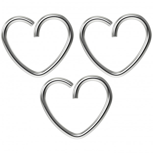 3pc 18g 3/8 Seamless Stainless Steel Heart Hoop Earring Cartilage Rook Tragus Helix Conch Auricle