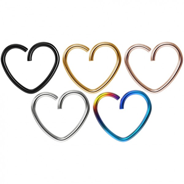 5pc 18g 3/8 Seamless Stainless Steel Heart Hoop Earrings Cartilage Rook Tragus Helix Conch Auricle