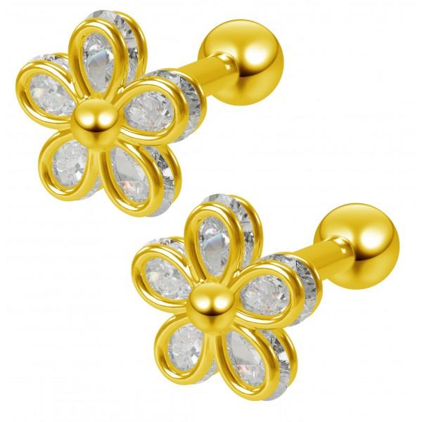 2pc 16g Cubic Zirconia CZ Flower Gem Barbell Studs 1/4 6mm Cartilage Earring Forward Helix Gold