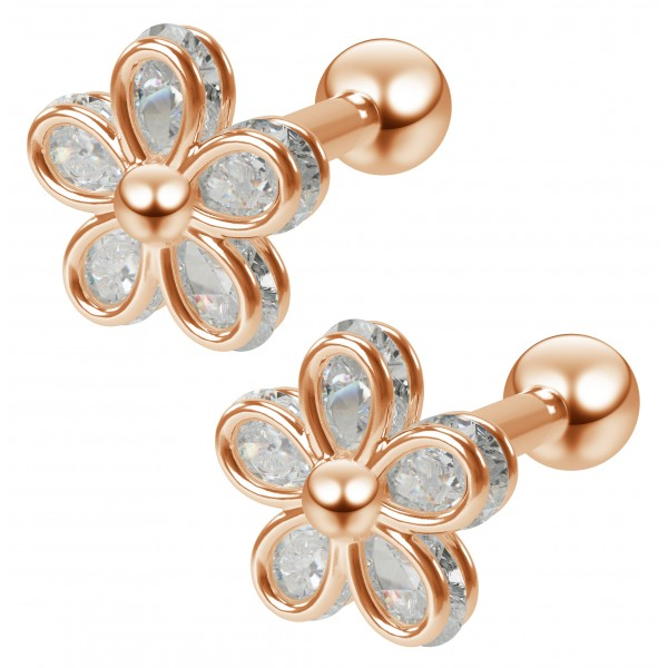 2pc 16g Cubic Zirconia CZ Flower Gem Barbell Studs 1/4 6mm Cartilage Earring Tragus Helix Rose Gold