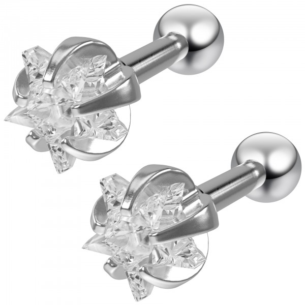 2pc 16g 1/4 Star Stud Earrings For Women Cartilage Studs Cubic Zirconia crystal Piercing Jewelry