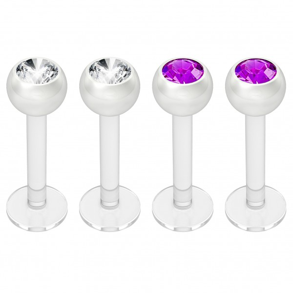 4pc 16g Bioplast Labret Monroe Lip Ring 3mm Amethyst CZ Bioflex Earring Stud Piercing Jewelry 8mm