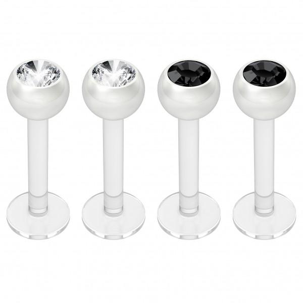 4pc 16g Bioplast Labret Monroe Lip Ring 3mm Jet Black CZ Bioflex Earring Stud Piercing Jewelry 8mm