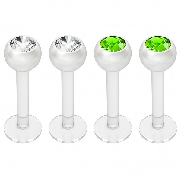 4pc 16g Bioplast Labret Monroe Lip Ring 3mm Green Gem Bioflex Earring Stud Piercing Jewelry 8mm 5/16