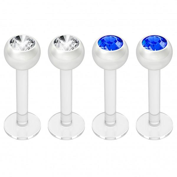 4pc 16g Bioplast Labret Monroe Lip Ring 3mm Blue Gem Bioflex Earring Stud Piercing Jewelry 8mm 5/16