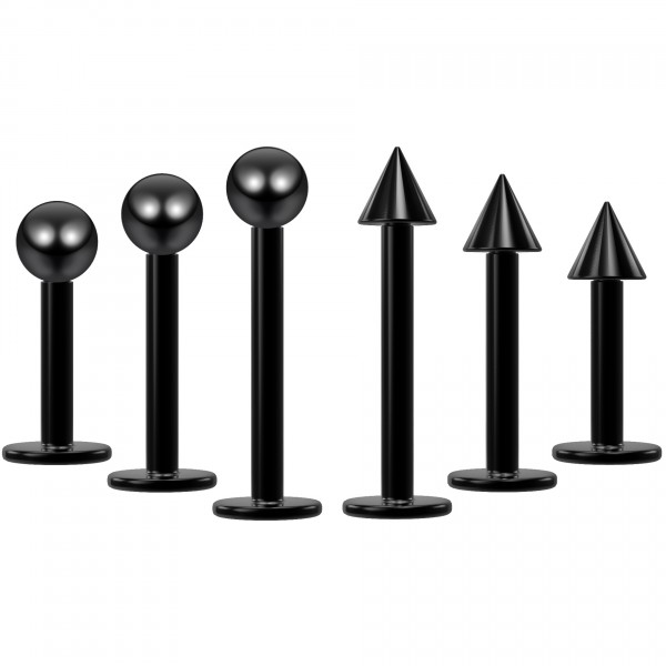 6pcs 16g Black Labret Studs Piercing Jewelry Lip Rings 3mm Ball 6mm 1/4 Monroe (6mm - 8mm - 10mm)