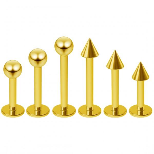 6pc 16g Black Labret Studs Piercing Jewelry Lip Rings 3mm Ball 6mm 1/4 Monroe (6mm - 8mm - 10mm)