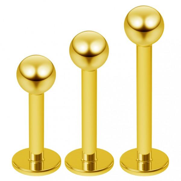3pcs 16g Gold Labret Lip Studs Tragus Ear Piercing Jewelry Rings 3mm Ball Monroe - 6mm 8mm 10mm