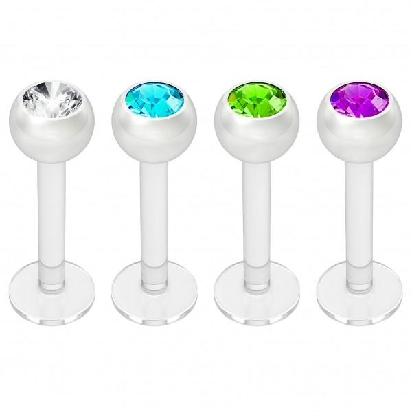 4pc 16g Bioplast Labret Monroe Lip Ring 3mm Mix Gem Tragus Bioflex Earring Stud Piercing Jewelry 8mm