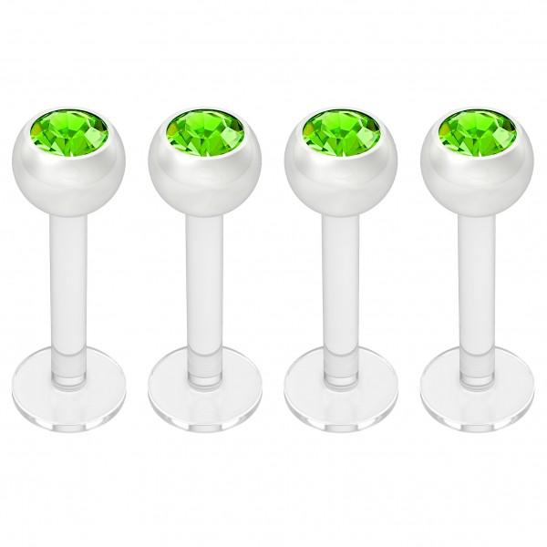 4pc 16g Bioplast Labret Monroe Lip Ring 3mm Peridot CZ Bioflex Stud Piercing Jewelry 8mm