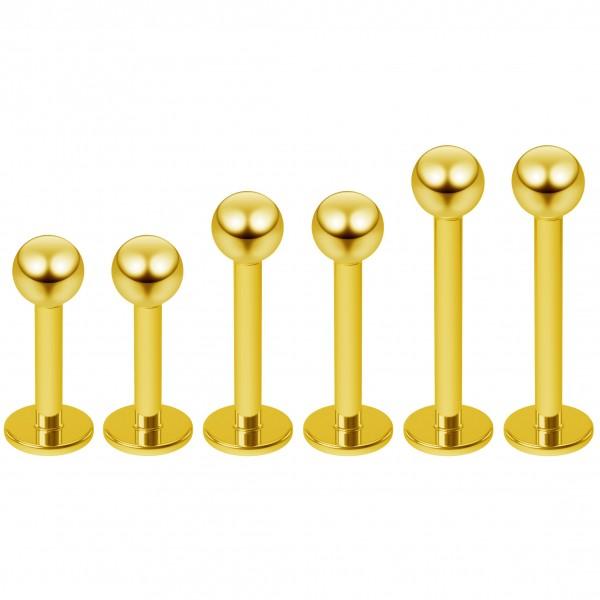 6pcs 16g Gold Labret Stud Earrings Piercing Jewelry Lip Rings 3mm Balls Monroe (6mm - 8mm - 10mm)