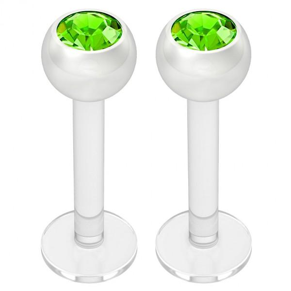 2pcs 16g Bioplast Labret Monroe Lip Ring 3mm Green Gem Bioflex Earrings Stud Piercing Jewelry 8mm