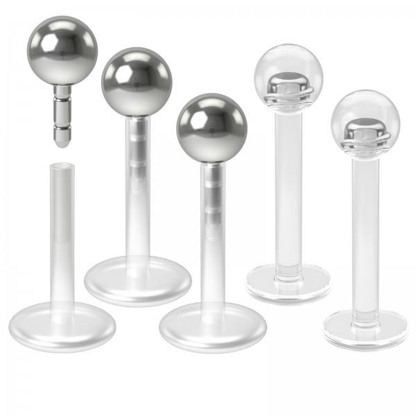 3pc 16g Bioplast Labret Lip Ring 3mm Push-Ball Flexible Bioflex Piercing Jewelry 8mm + 2pc Retainer