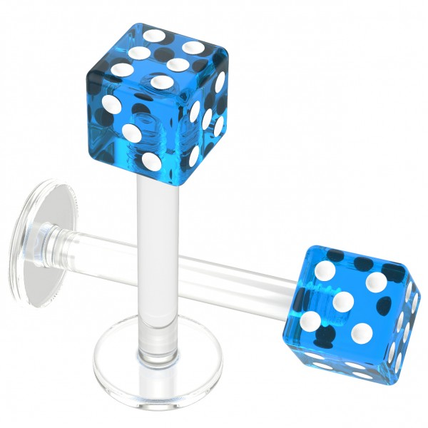 2pcs 16g Flexible Acrylic Dice Labret Ring Monroe Lip Studs Earring 8mm Cute Piercing Jewelry Blue