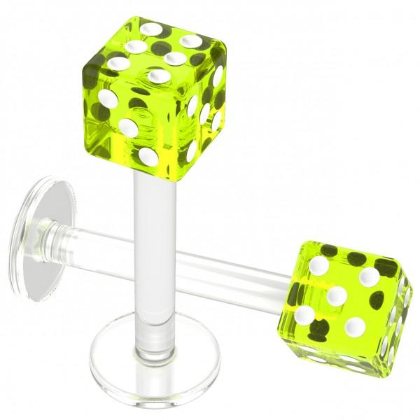 2pcs 16g Flexible Acrylic Dice Labret Ring Monroe Lip Studs Earring 5/16 Cute Piercing Jewelry Green