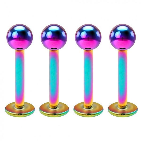 4pcs 16g Stainless Steel Labret Rainbow Lip Rings Earrings 3mm Ball Tragus Forward Helix Studs 8mm