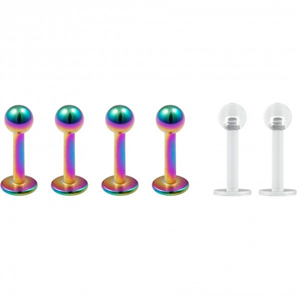 4pc 16g Stainless Steel Labret Rainbow Lip Rings Earrings 3mm Ball Tragus Helix 6mm + 2pc Retainer