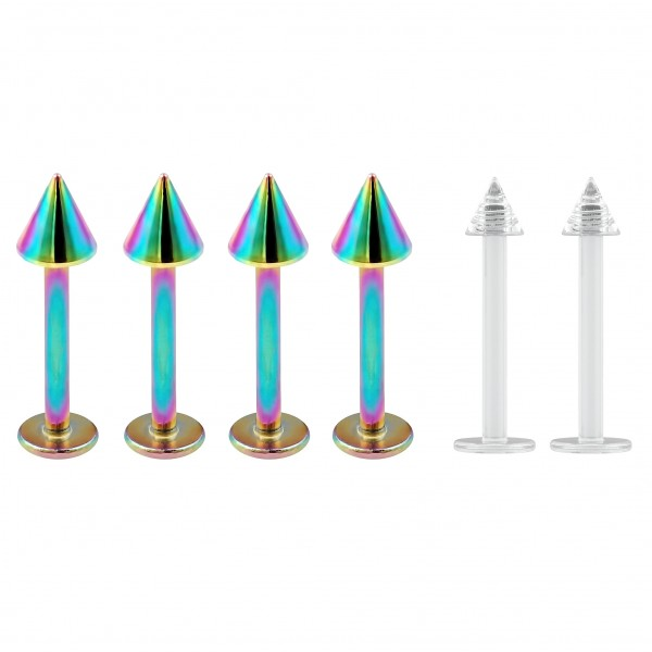 4pc 16g Stainless Steel Labret Rainbow Lip Rings Earrings 3mm Spike Tragus Helix 6mm + 2pc Retainer