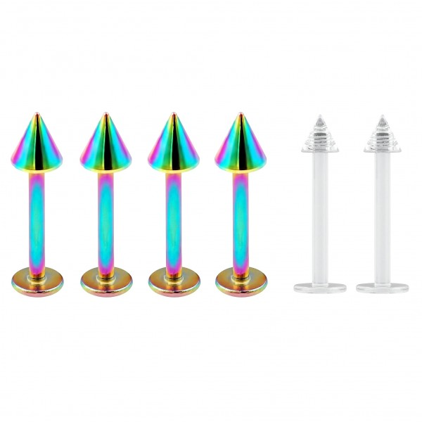 4pc 16g Stainless Steel Labret Rainbow Lip Rings 3mm Spike + 2pc Clear Retainer (6mm 8mm 10mm)