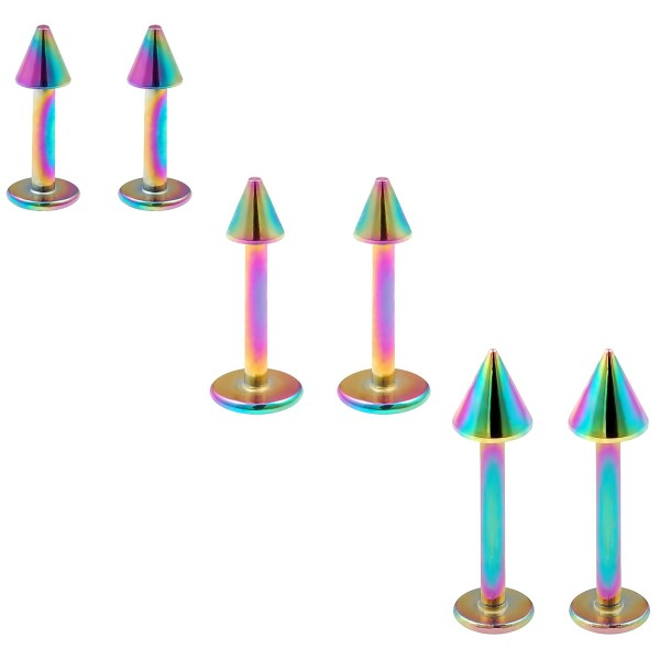 6pc 16g Stainless Steel Labret Rainbow Lip Rings 3mm Spike Tragus Helix Earrings (6mm - 8mm -10mm)