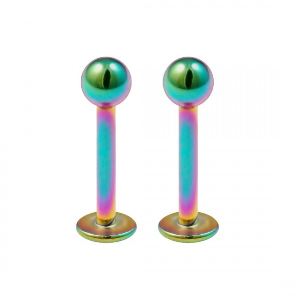 2pcs 16g Surgical Steel Labret Rainbow Lip Rings Anti Tragus Helix Earring Stud Piercing Jewelry 8mm