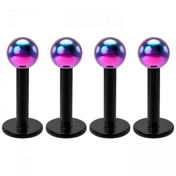 4pc 16g Stainless Steel Labret Rainbow 3mm Ball Monroe Lip Ring Triple Forward Helix Earrings 6mm
