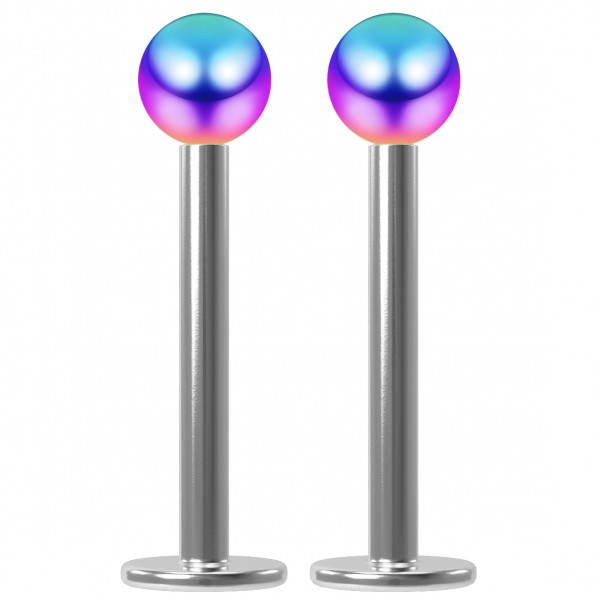 2pcs 16g Surgical Steel Labret 3mm Rainbow Ball Lip Ring Tragus Studs Earring Piercing Jewelry 10mm