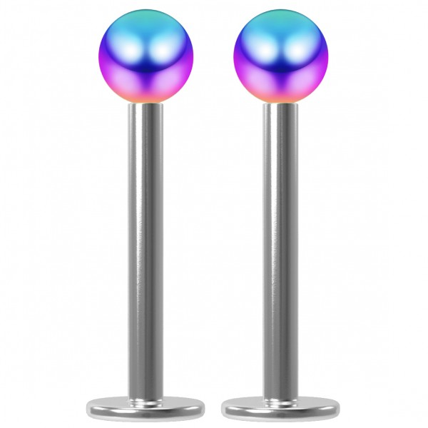 2pc 16g Surgical Steel Labret 3mm Rainbow Ball Lip Ring Tragus Piercing Jewelry Studs (6mm 8mm 10mm)