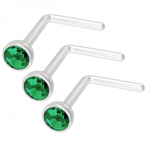 3pc 20g Bioflex L-Shape Nose Stud Ring Plastic Bioplast Nostril Stud Cool Cute Curve Flat Hoop Bend