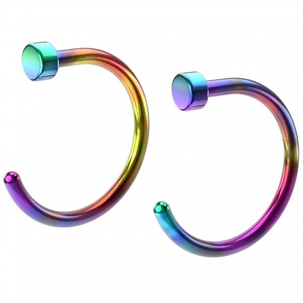 2pc 20g Nose Hoop Rainbow Stainless Steel Hypoallergenic Nostril Rings Flat Twist Nasal Piercing 8mm