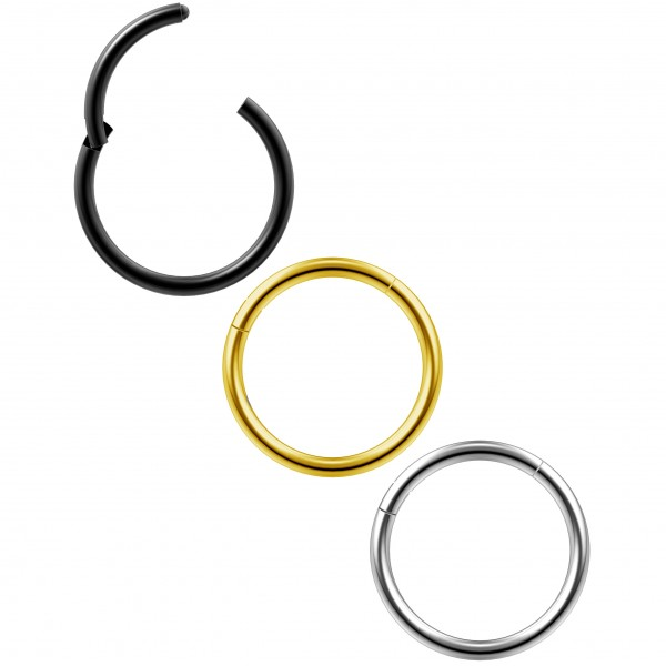 3 x 1mm Schwarz Chirurgenstahl 316L Kliker Click Ring Segment Nasen Helix Cartilage Tragus Piercing Schmuck 10mm