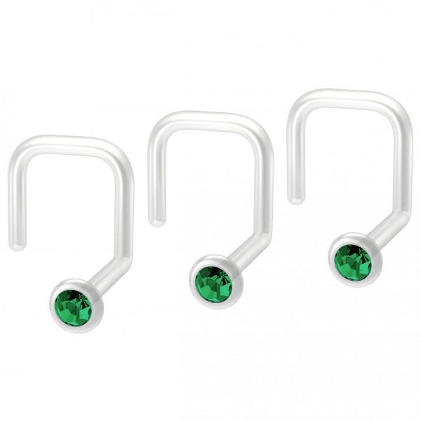 3pc 18g Bioplast Nose Screw Flexible Bioflex Plastic Blue CZ Crystal Corskscrew Nostril Piercing Gem