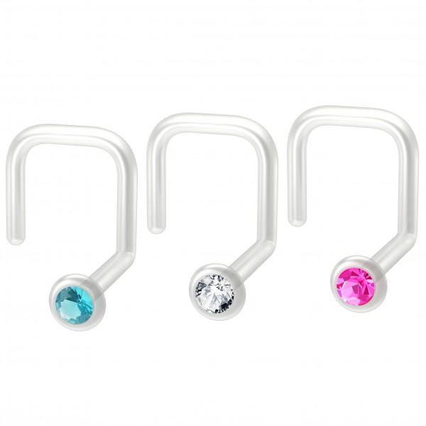 3pc 18g Bioplast Nose Screw Flexible Bioflex Plastic Clear CZ Crystals Corskscrew Nostril Piercing