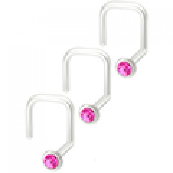 4pc 18g Stainless Steel CZ Nose Screw Corskscrew Nostril Stud Piercing Hoop Right Crystal