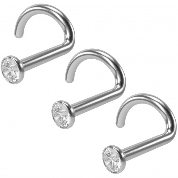 3pc 18g Stainless Steel CZ Nose Screw Corskscrew Nostril Stud Piercing Hoop Right Crystal
