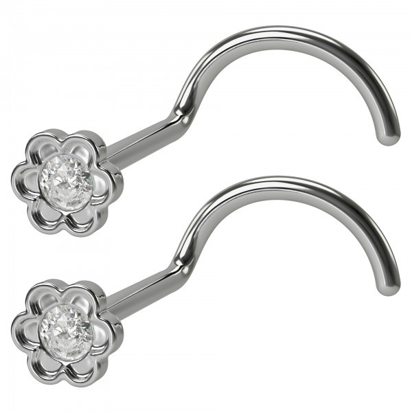 2pc 20g Flower Nose Screw CZ Crystal Stainless Steel Corkscrew Nostril Rings Hoop Piercing Jewelry