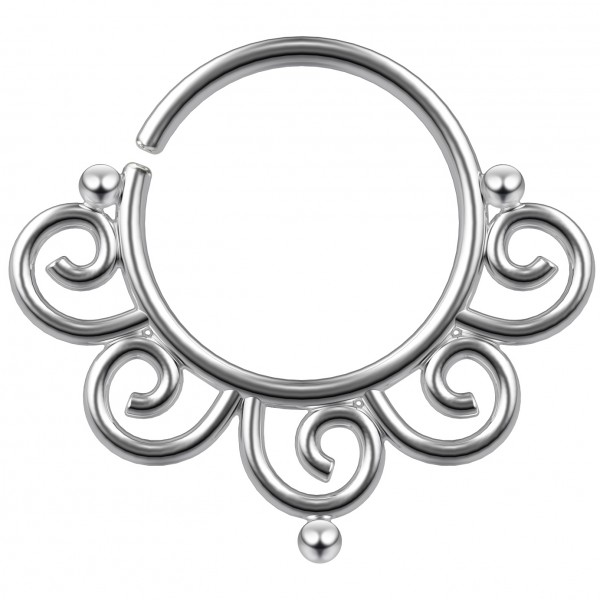 18g Nose Ring Septum Piercing 5/16 Unique Seamless Hoop Solid Brass Rhodium-Plated Nostril Cool 8mm