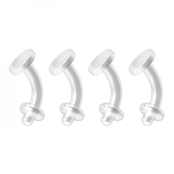 4pc 14g Bioflex Belly Button Retainers Clear Invisible Plastic Rings Bioplast Navel Plastic Retainer