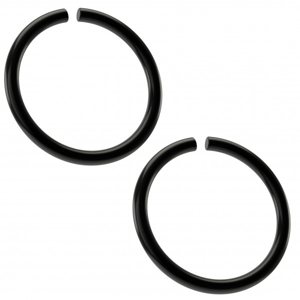 2pc 18g Black Stainless Steel Ring Seamless 10mm 3/8 Inifinity Hoop Endless Cartilage Earring Tragus