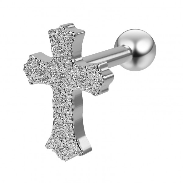 16g 1/4 Barbell Cross Cartilage Earring Studs Forward Helix Tragus Auricle Piercing 316L Surgical Steel