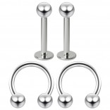 16g 8mm Cartilage Piercing Earrings 16 Gauge Earring Pierced Hoop For Ears Hypoallergenic Labret Studs Piercing Jewelry Rings Surgical Steel