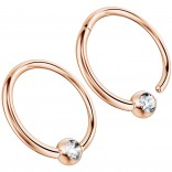 2pc 16g Hinged Captive Bead Ring Clicker Helix Earring Nose Hoop Cartilage Tragus Lip Septum Rook Forward Eyebrow 10mm Cubic Zirconia Rose Gold