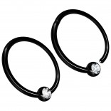2pc 16g Hinged Captive Bead Ring Clicker Helix Earring Nose Hoop Cartilage Tragus Lip Septum Rook Forward Eyebrow 12mm Cubic Zirconia Black