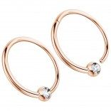 2pc 16g Hinged Captive Bead Ring Clicker Helix Earring Nose Hoop Cartilage Tragus Lip Septum Rook Forward Eyebrow 12mm Cubic Zirconia Rose Gold