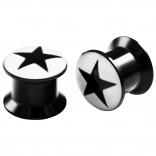 2pc 00g Ear Gauges Internal Star Screw Fit Flesh Tunnels Acrylic Expander Stretcher Plugs Double Flared For Gauging Out Lobe Black & White