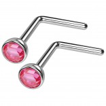 2pc 20g Surgical Stainless Steel L-Shaped Nose Ring Rose Flat Cute Hoop 20 Gauge Stud CZ crystal Gem
