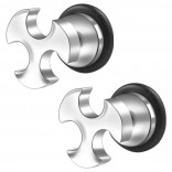 2pc 16g 316L Surgical Stainless SteelSign Fake Ear Plug Gauges Earrings Cheater Stud Surgical Steel Bar Piercing Jewelry